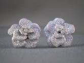 Diamond Rosebud earrings crafted in 18k white gold.