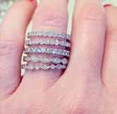 Pretty little layers with these diamond stackable bands.